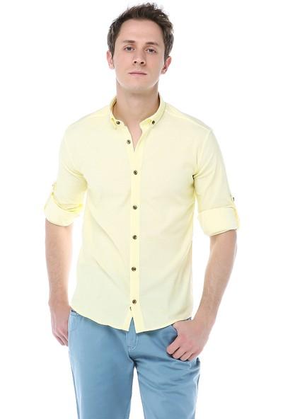 163906c658e86 Manche Sarı Armürlü Jakar Desenli Bengalin Gömlek Me19S133140 ...
