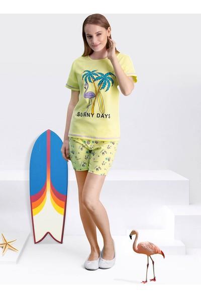 Arnetta Sunny Days Sarı Kadın Şortlu Pijama Takım