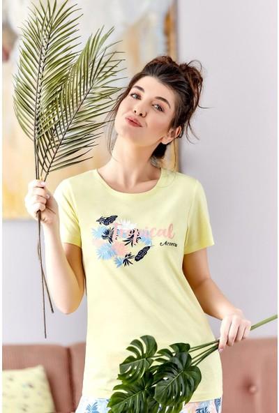 Arnetta Tropical Sarı Kadın Pijama Takımı