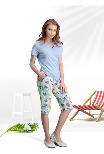 Arnetta Tropical Mavi Kadın Kapri Takım