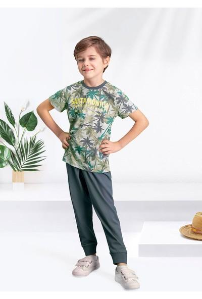 Arnetta Santa Monica Gri-Yeşil Erkek Çocuk Pijama Takımı