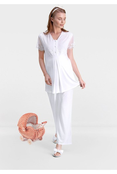 Arnetta New Mom Krem Kadın Lohusa Pijama Takımı