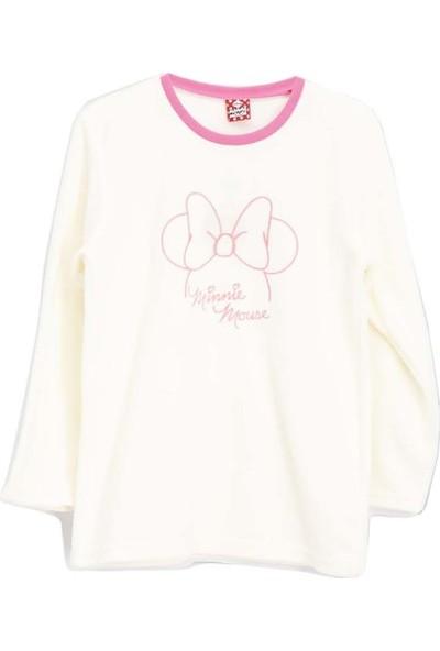 Mickey & Minnie Mouse Lisanslı Kız Çocuk Polar Sweatshirt Krem