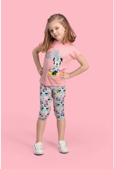 Mickey & Minnie Mouse Lisanslı Pembe Kız Çocuk Kapri Takım