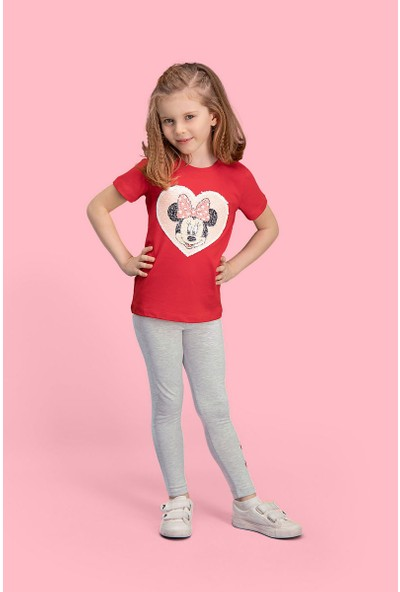 Mickey & Minnie Mouse Lisanslı Kırmızı Kız Çocuk Pijama Takımı