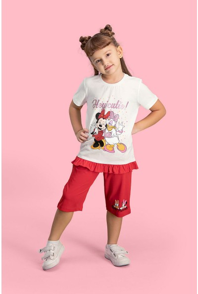 Mickey & Minnie Mouse Lisanslı Krem Kız Çocuk Kapri Takım