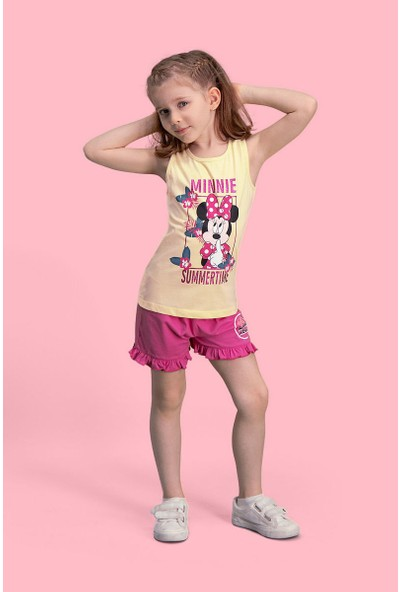 Mickey & Minnie Mouse Lisanslı Limon Sarı Kız Çocuk Şort Takım