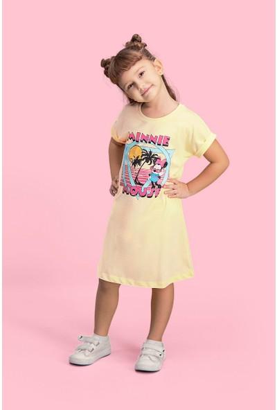 Mickey & Minnie Mouse Lisanslı Limon Sarı Kız Çocuk Gecelik