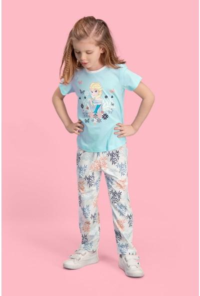 Karlar Ülkesi Elsa - Frozen Lisanslı Mavi Kız Çocuk Pijama Takımı