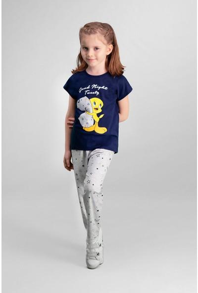 Looney Tunes Tweety Lisanslı Lacivert Kız Çocuk Pijama Takımı
