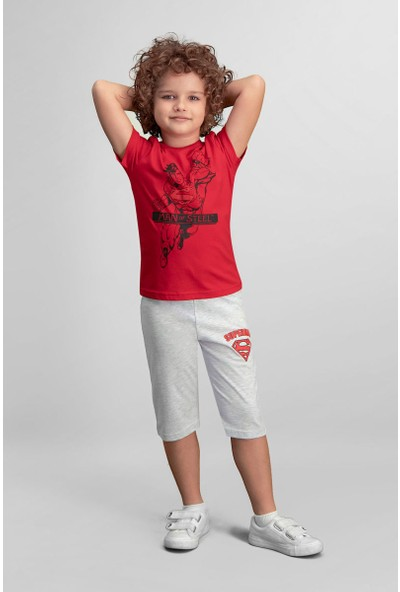 Superman Lisanslı Kırmızı Erkek Çocuk Kapri Takım