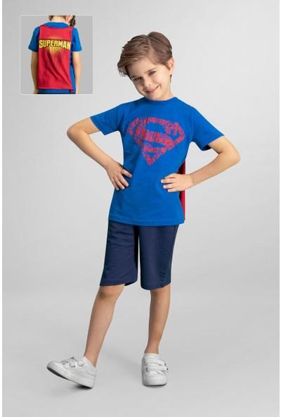 Superman Lisanslı Saks Mavi Erkek Çocuk Bermuda Takım