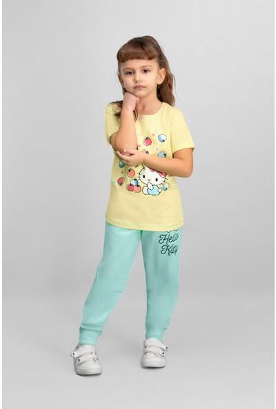 Hello Kitty Lisanslı Limon Sarı Kız Çocuk Pijama Takımı