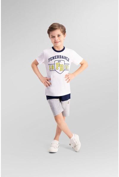 Fenerbahçe Lisanslı Beyaz Erkek Çocuk Bermuda Takım