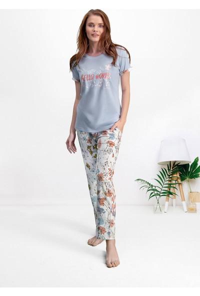 Pierre Cardin Açık Mavi Kadın Büyük Beden Pijama Takımı