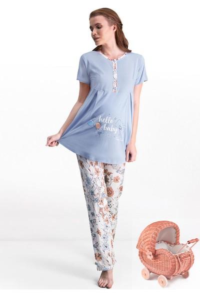 Pierre Cardin Mavi Kadın Lohusa Pijama Takımı