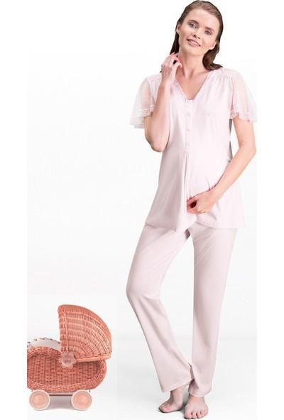 Pierre Cardin Pembe Kadın Lohusa Pijama Takımı