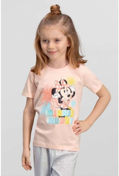 Mickey & Minnie Mouse Lisanslı İnci Pembe Kız Çocuk T-Shirt