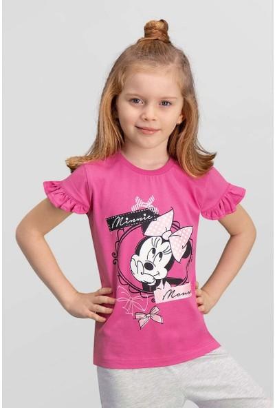 Mickey & Minnie Mouse Lisanslı Fuşya Kız Çocuk T-Shirt