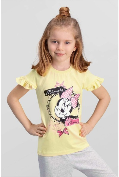 Mickey & Minnie Mouse Lisanslı Limon Sarı Kız Çocuk T-Shirt