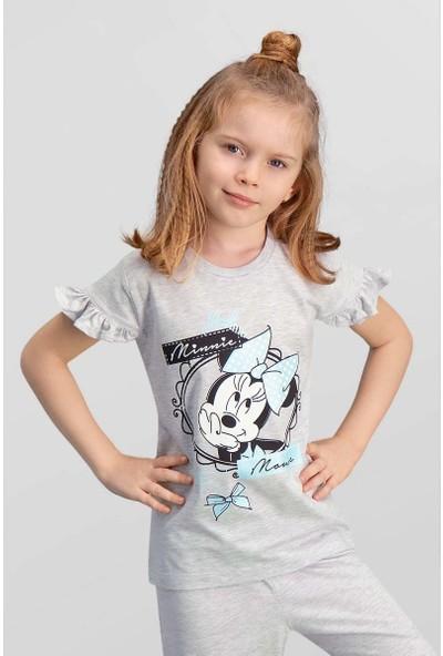 Mickey & Minnie Mouse Lisanslı Açık Gri Kız Çocuk T-Shirt