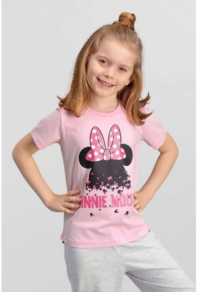 Mickey & Minnie Mouse Lisanslı Pembe Kız Çocuk T-Shirt