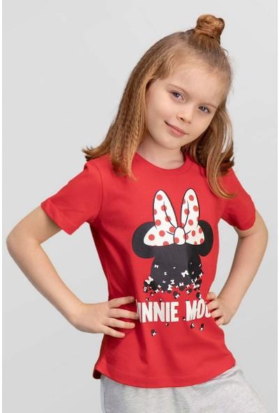 Mickey & Minnie Mouse Lisanslı Kırmızı Kız Çocuk T-Shirt