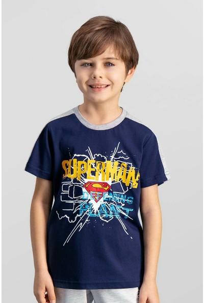 Superman Lisanslı Lacivert Erkek Çocuk T-Shirt