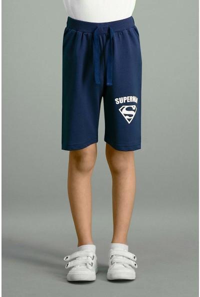 Superman Lisanslı Lacivert Erkek Çocuk Bermuda