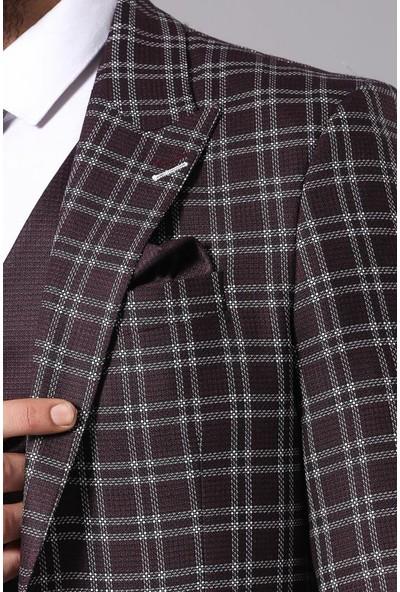 Wessi Ekose Bordo Ceketli Yelekli Takım Elbise