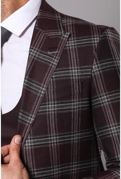 Wessi Ekose Ceketli Bordo Erkek Takım Elbise