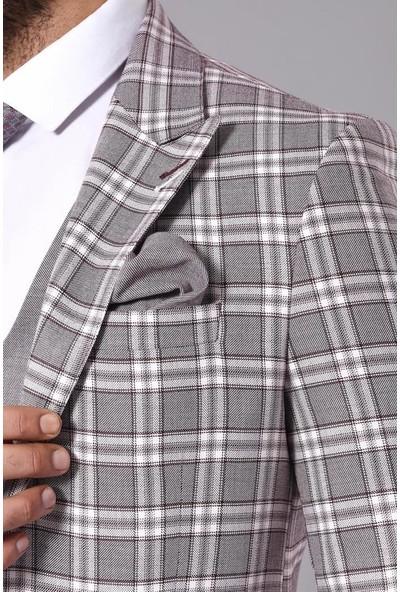 Wessi Ekose Ceketli Yelekli Bordo Takım Elbise