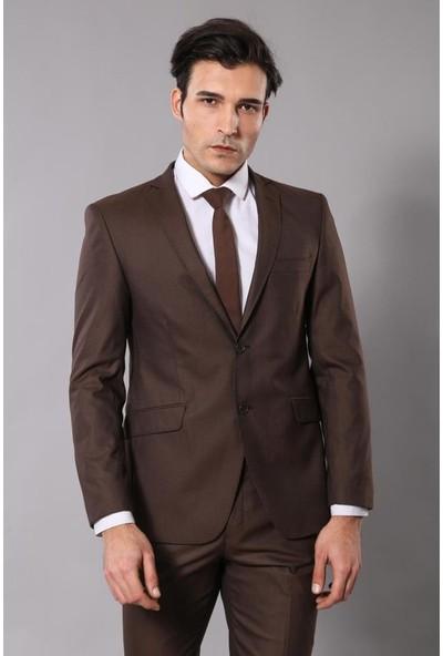 Wessi Kahverengi Çizgili Takım Elbise