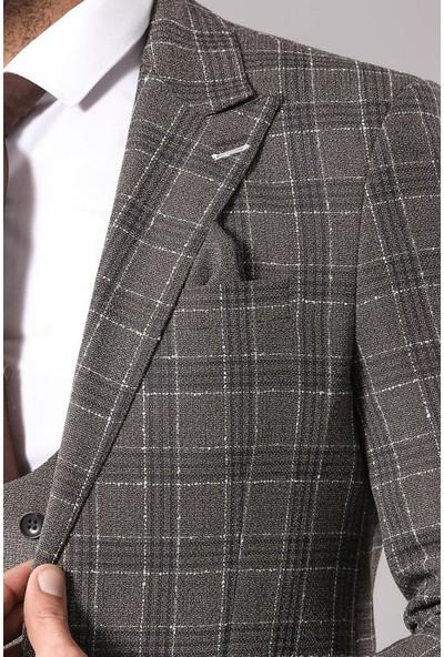 Wessi Kahverengi Ekose Ceketli Yelekli Takım Elbise