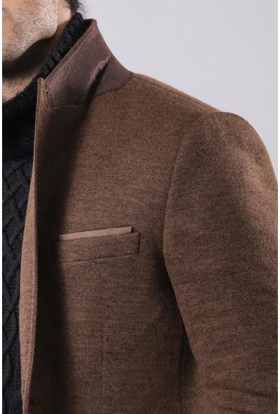 Wessi Kahverengi Geniş Sivri Yaka Tek Düğmeli Ceket