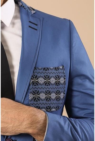 Wessi Pamuk Slim Fit Mavi Ceket