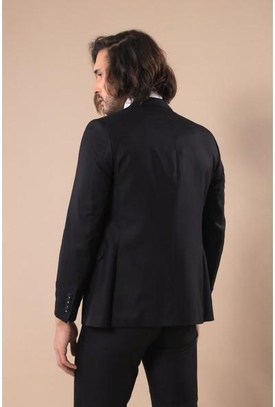 Wessi Sivri Yaka Tek Düğmeli Slim Fit Siyah Takım Elbise