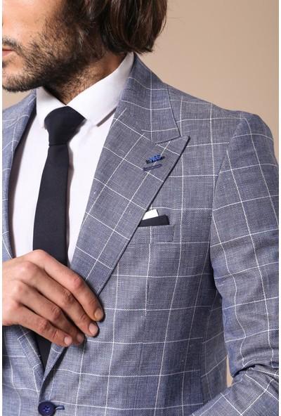 Wessi Tek Düğme Geniş Sivri Yaka Mavi Ceket
