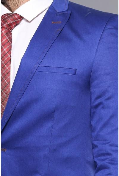 Wessi Tek Düğme Pamuk Saten Mavi Ceket