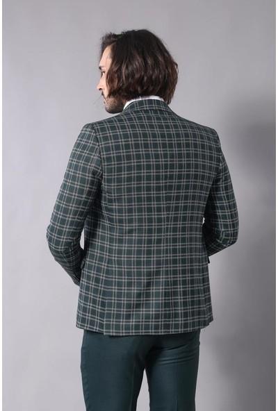 Wessi Yeşil Ekose Ceketli Yelekli Takım Elbise