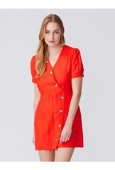 Dilvin 9973 Kol Detaylı Kruvaze Elbise-Kırmızı