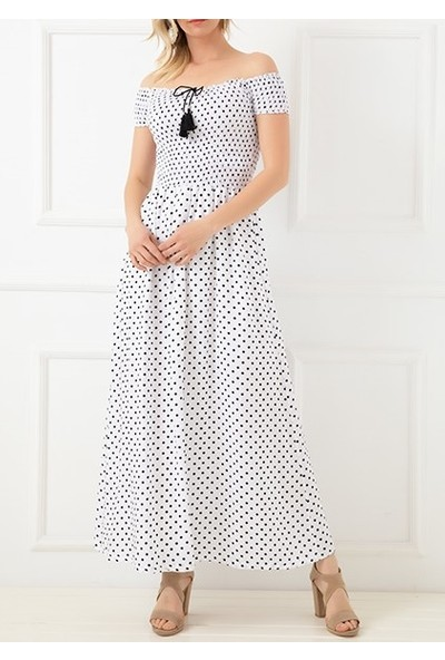Trendinall Kadın Elbise Degaje Yaka Puantiyeli