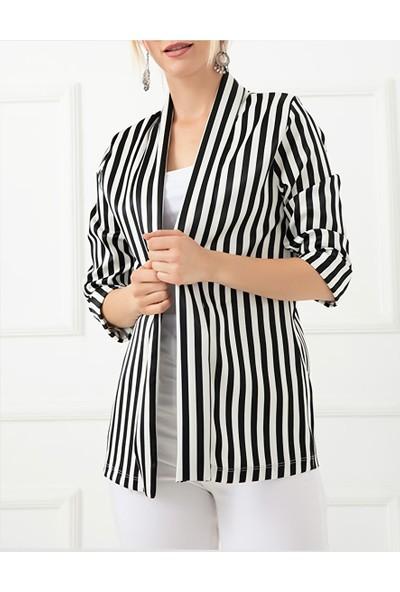 Trendinall Kadın Blazer Ceket Klasik Spor Kapri Kol Mevsimlik