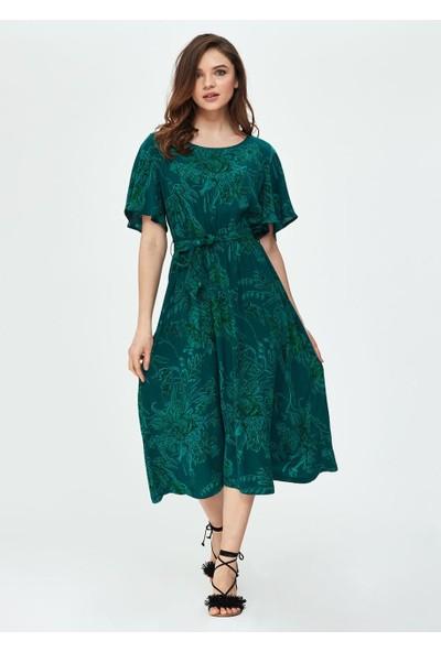 Dagi Kadın Cupro Beli Bağlamalı Kk. Elbise Yeşil