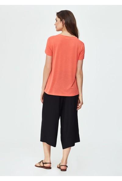 Dagi Kadın V Yaka Kısa Kol T-Shirt Somon