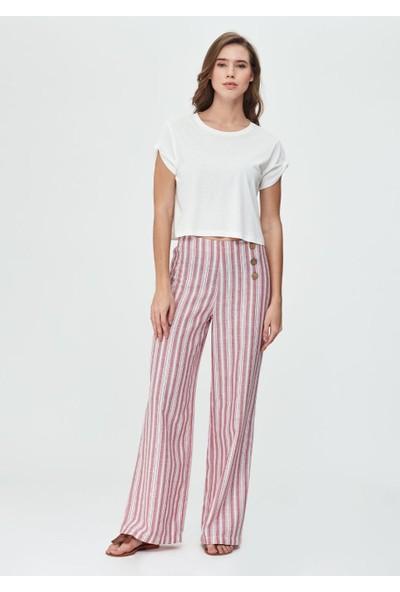 Dagi Kadın Dokuma Geniş Paçalı Pantolon Kırmızı