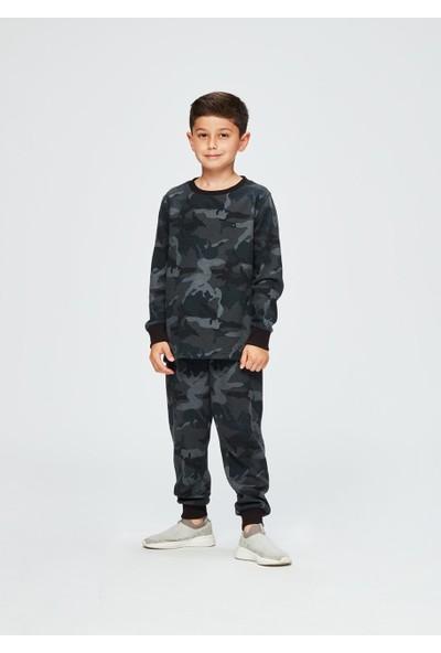 Dagi Erkek Çocuk Pike O Yaka Paçası Ribana Uzun Kol Pijama Takımı Füme
