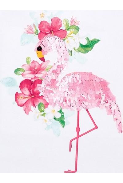 Mayoral Kız Çocuk Volanlı Kalın Askılı T-Shirt Flamingo 3022 Beyaz