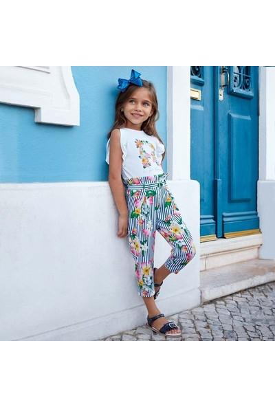 Mayoral Kız Çocuk Çiçekli Kısa Paçalı Pantolon 3504