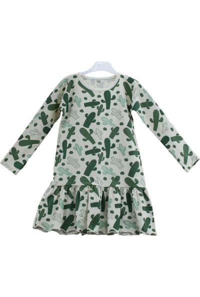 Uygun Bebe Kaktüs Penye Kız Çocuk Elbise